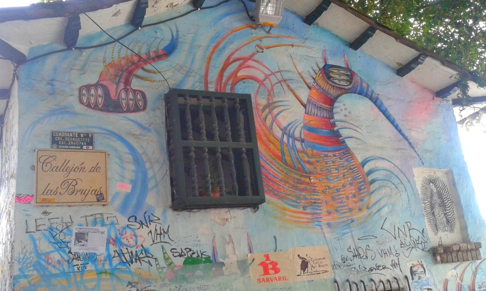 Graffiti auf Bogotás ältestem Gebäude